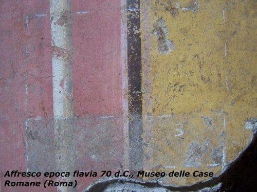 Affresco rosso e giallo dell'epoca Flavia del 70 dopo Cristo al Museo delle Case Romane