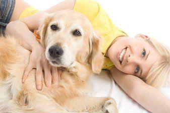 happy dog ownder