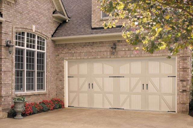 White Wooden Garage Door U2014 Garage Door Service In Albuquerque, NM