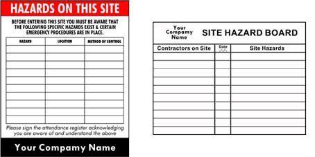 site hazard board signs