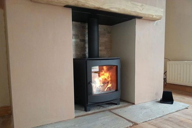 fireplace and thermostat