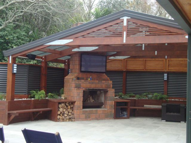 BBQ area with TV