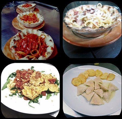 dei piatti di spaghetti al sugo,alla carbonara e dei ravioli