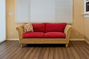 Genial Monthly Rentals | Red Wooden Couch | Wichita, KS