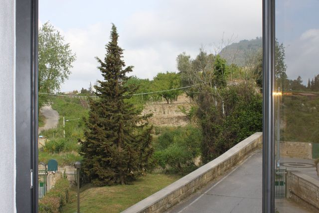 vista del giardino dalla finestra