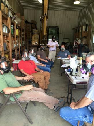 Technicians in masks