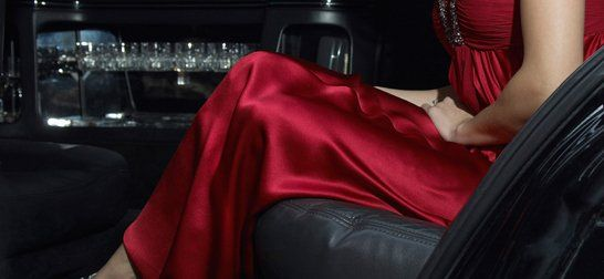 a customer in a limousine headed for a party