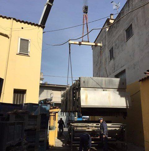 Gru lavorando nel montaggio di un capannone industrial