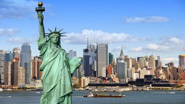 la Statua della Libertà è vista della città