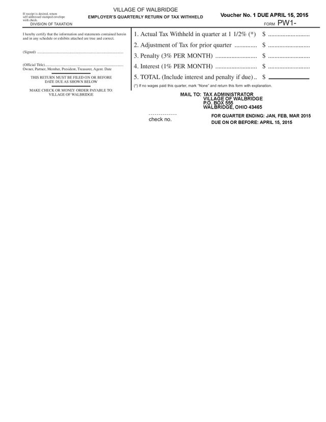 Employers Quarterly Tax Return Forms Village of Walbridge