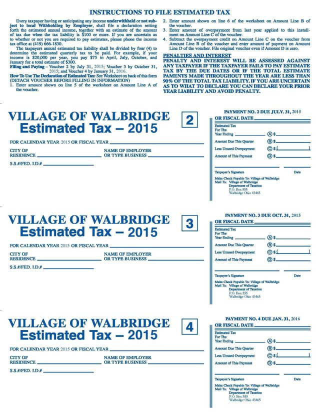 2015 Estimated Tax Forms Village of Walbridge