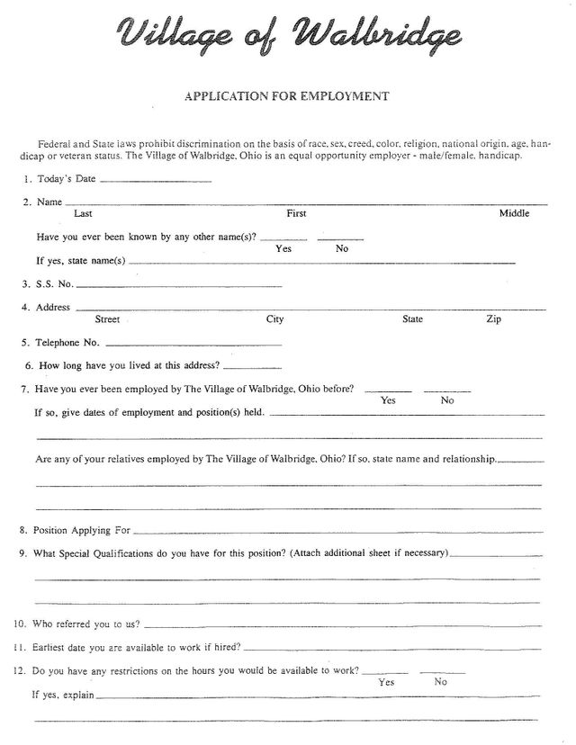 village of walbridge employment application