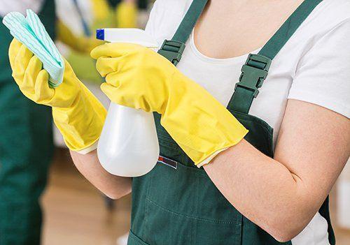 persona spruzza uno spray su un panno