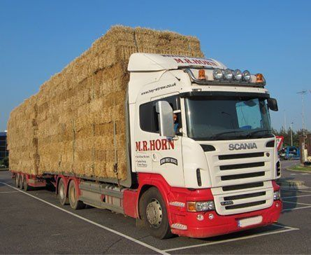 lorry carrying hay