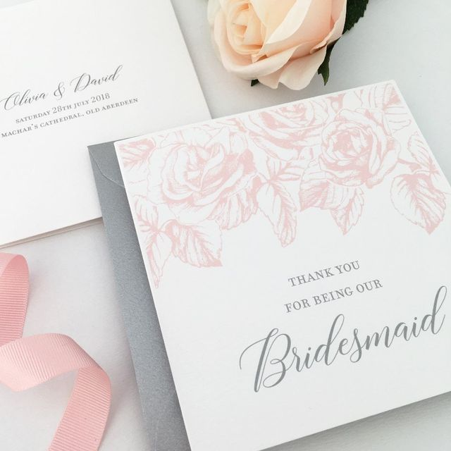 Paperoo Aberdeen Wedding Stationery Thank You Bridesmaid