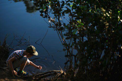 kid exploring