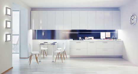 white coloured kitchen