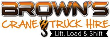 Brown crane truck logo