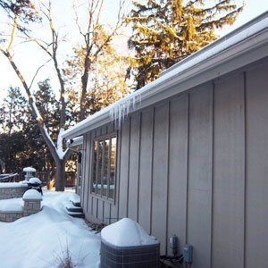 Gutter filled with snow