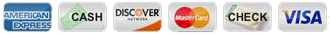 Payment Icons - American Express, Cash, Discover, MasterCard, Check, Visa