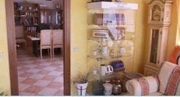 una vetrina con delle urne e vista di un ufficio