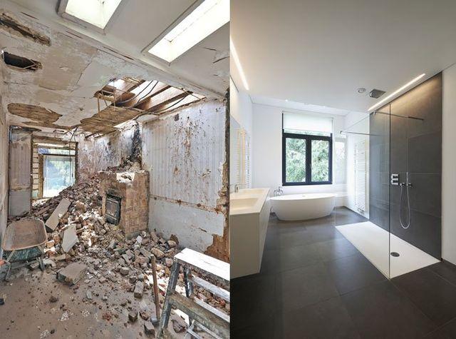due immagini di un bagno prima e dopo la ristrutturazione