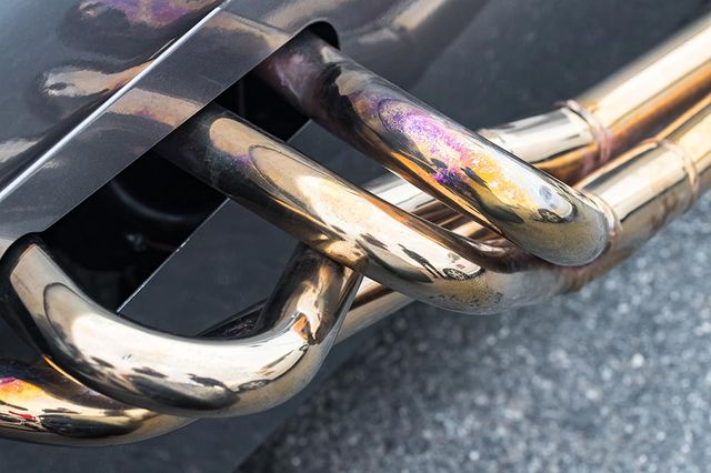 shiny exhaust pipes