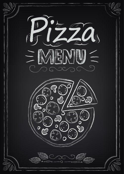 una lavagna con scritto pizza menù e il disegno di una pizza