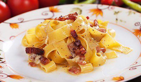 Tagliatelle con pancetta- La boscaglia a Roma