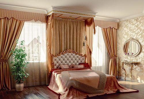 Elegant curtains in the bedroom