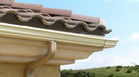 pantiled roof with traditional guttering and flexible downpipe