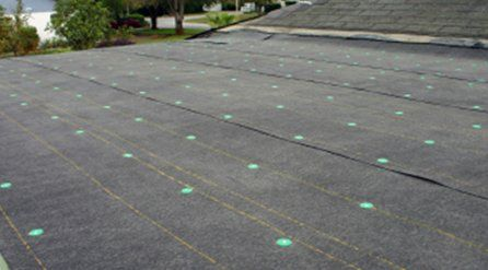 roofing felt laid out with green markers