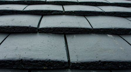 close up of tiled grey roof
