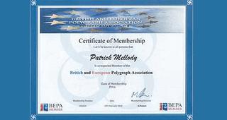 Patrick Mellody's British & European Polygraph  Association certificate