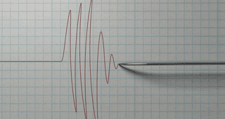 Polygraph needle going up and down on graph paper