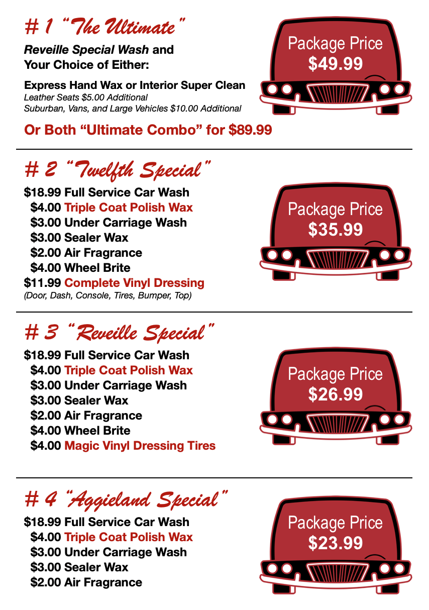 Car Detailing Prices >> Wolf Creek Car Wash Oil Change Center Aggieland