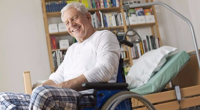 old man on a wheel chair