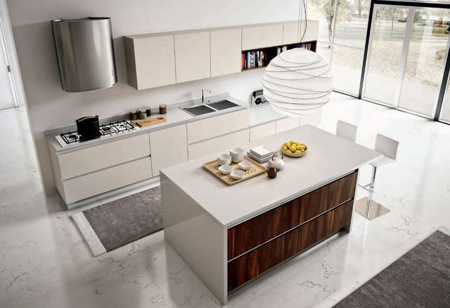 white and wooden modern kitchen with a central island