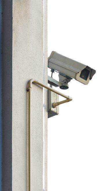 cctv camera system mounted on concrete post