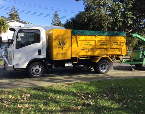 tree chipper in use with receiving lorry for waste disposal