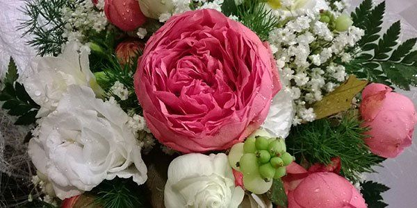 Una composizione di rose di colore rosa, tulipani rosa bianchi e foglie verdi a varie forme