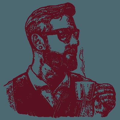 Illustrazione di signore con tazzina da caffè