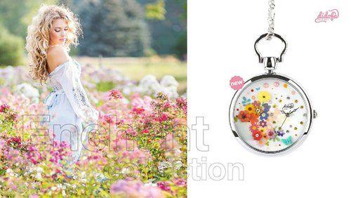 Locandina di una modella in un prato e un orologio da taschino colorato a fianco