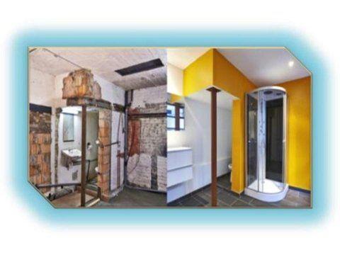 il prima e il dopo una ristrutturazione di un bagno con vista del box doccia