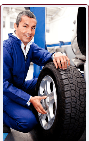 An engineer with a tyre