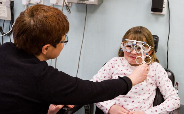 A child's eye testing