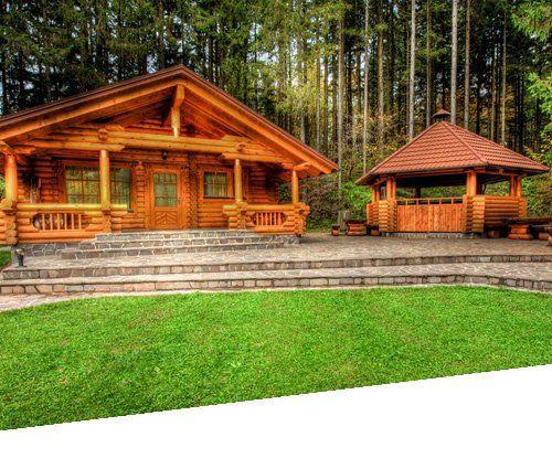 casa in legno con prato e foresta in sfondo esterno giorno