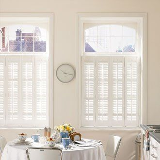 Cafe style shutters in a white kitchen