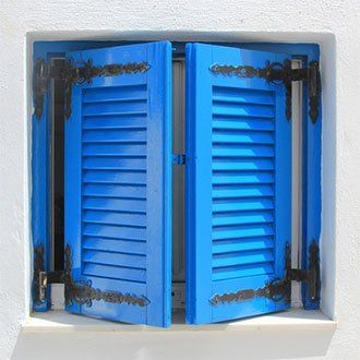 Blue faux wood shutters