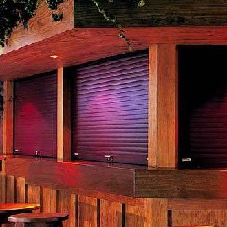 Security shutters protecting a business premises